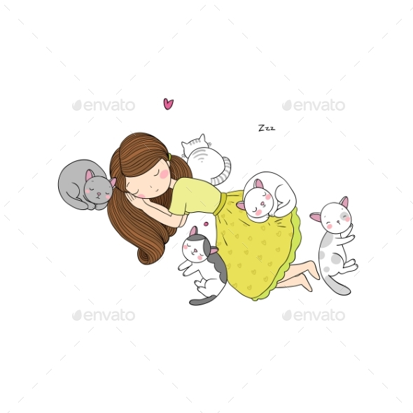 A Cartoon Girl and Cute Cats Sleeping. Lovely Pets - Miscellaneous Vectors
