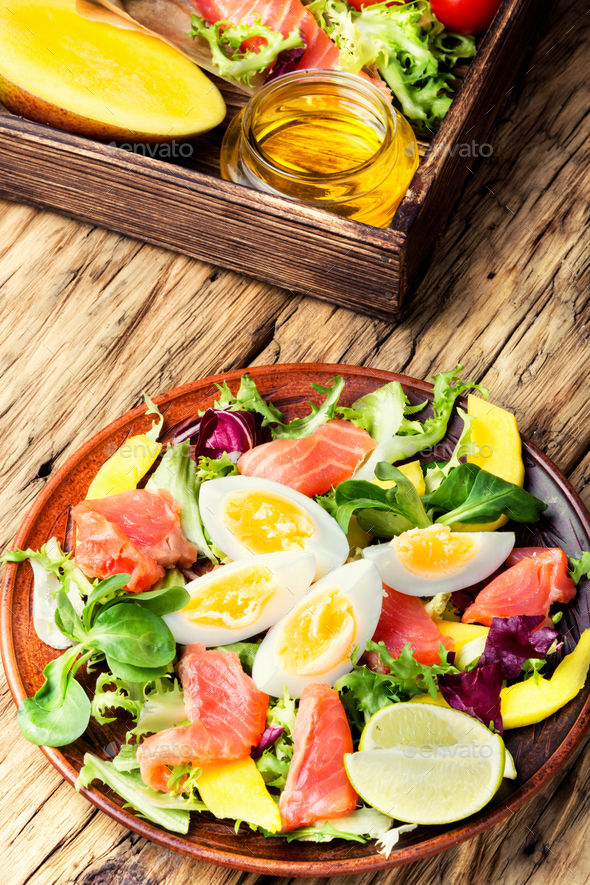 lettuce salad with fish - Stock Photo - Images