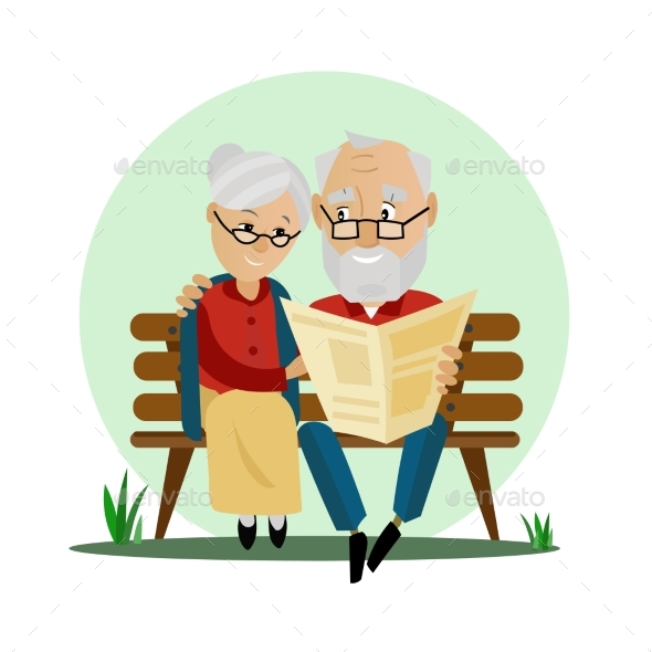 Old Couple Sitting on a Bench in the Park - People Characters
