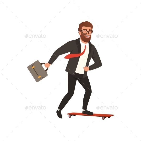 Cheerful Businessman Riding Fast on Skateboard - People Characters