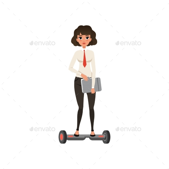 Business Woman Standing on Self-balancing Scooter - People Characters
