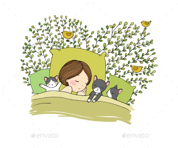 Sleeping Girl and Cat in Bed. Good Night. - People Characters