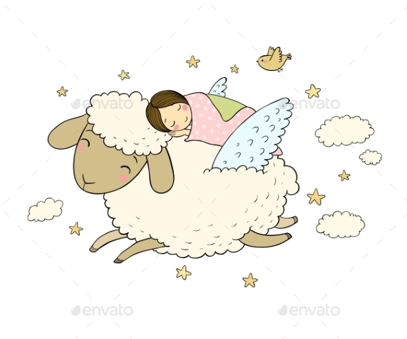 A Sleeping Girl and a Sheep with Wings. Good Night - People Characters