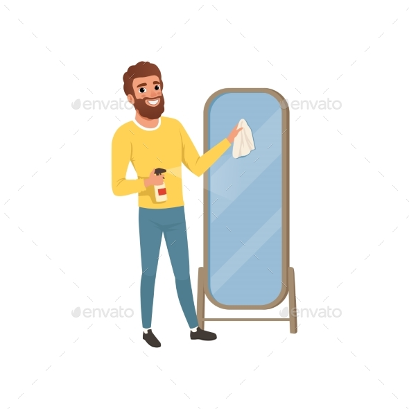 Young Guy Cleaning Big Bathroom Mirror with Rag - People Characters