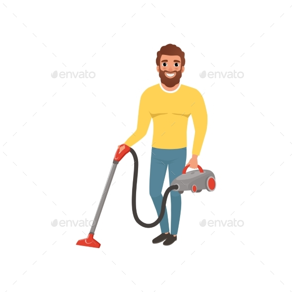 Cartoon Character of Smiling Man with Vacuum - People Characters