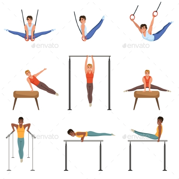 Young Guys Training on Various Gymnastics - Sports/Activity Conceptual