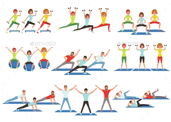 Set of People Working Out in Gym. - Sports/Activity Conceptual
