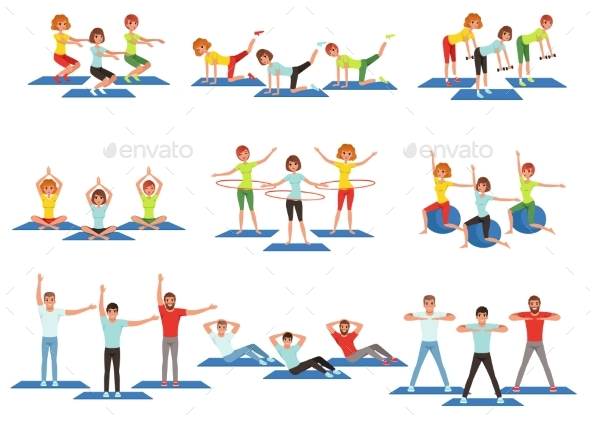 Set of Sports People in Gym. - Sports/Activity Conceptual