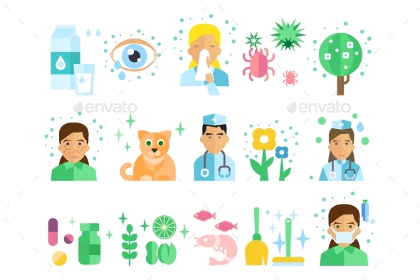 Set of Flat Vector Icons with Types of Allergens - Objects Vectors