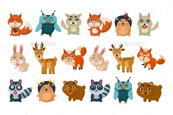Colorful Set of Different Forest Animals.  - Animals Characters