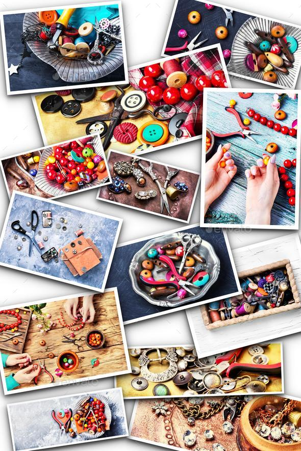Collage with elements for needlework - Stock Photo - Images