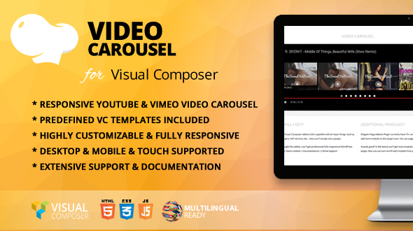 Video Carousel Addon for WPBakery Page Builder (formerly Visual Composer) - CodeCanyon Item for Sale