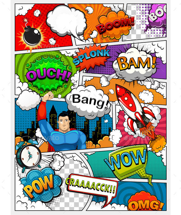 Comic Book Page Divided by Lines - Miscellaneous Vectors