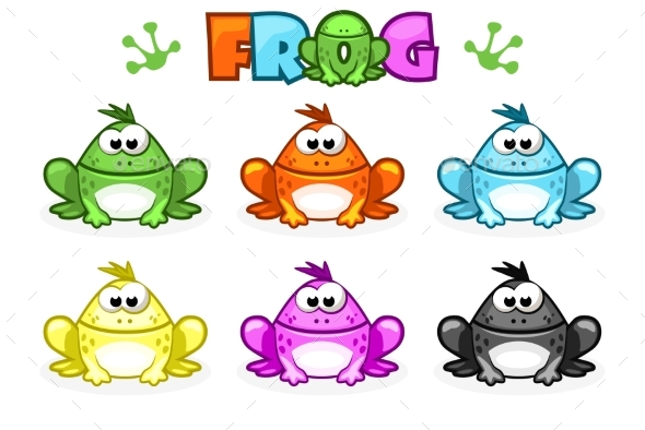 Cartoon Frogs Different Colored Toads - Animals Characters