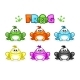 Cartoon Frogs Different Colored Toads