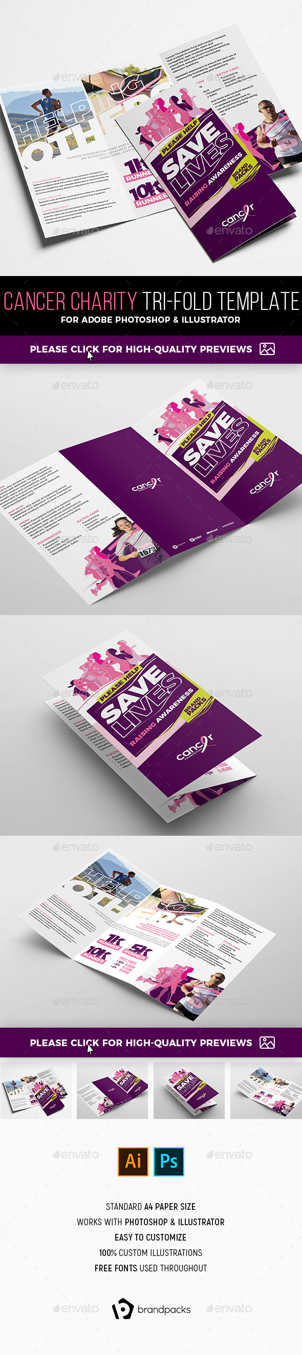 Cancer Benefit Tri-Fold Brochure Template - Corporate Brochures