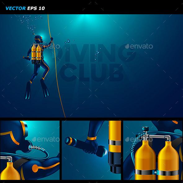 One Scuba Diver Underwater - Landscapes Nature