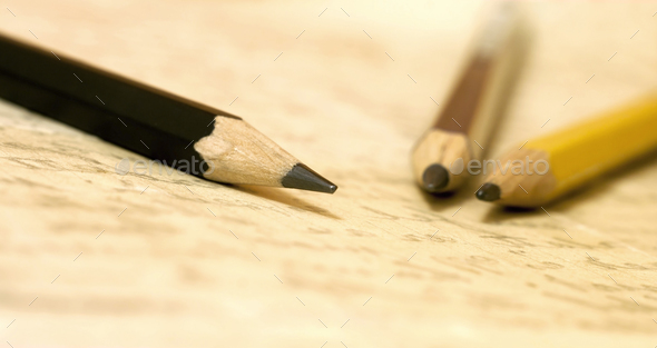 Calligraphy concept - pencils on handwritten letter - Stock Photo - Images
