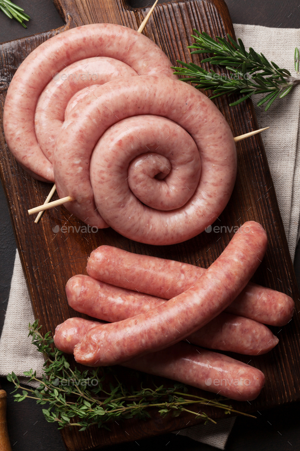 Raw sausages - Stock Photo - Images