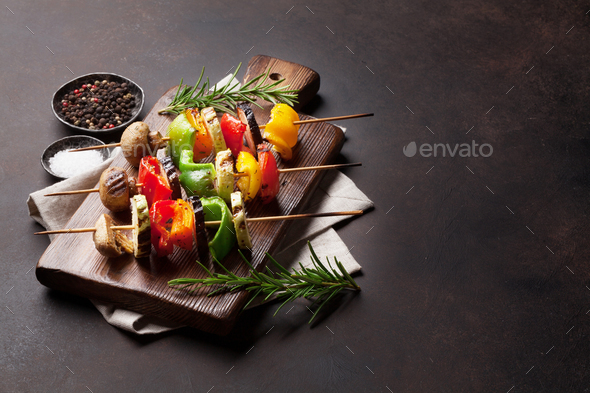 Grilled vegetables on cutting board - Stock Photo - Images