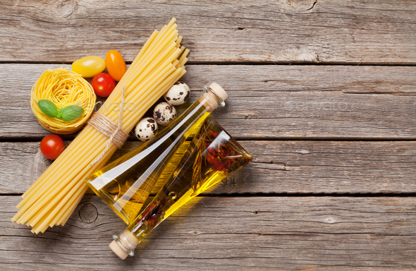 Various pasta and condiments - Stock Photo - Images
