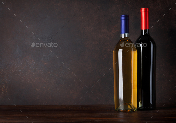 Red and white wine bottles - Stock Photo - Images