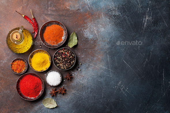 Colorful spices on stone table - Stock Photo - Images