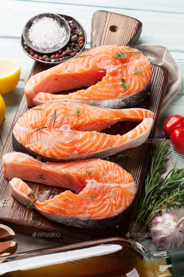 Raw salmon fish steaks - Stock Photo - Images