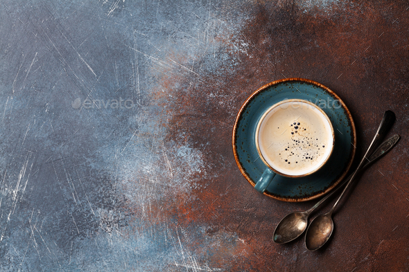 Coffee cup and spoons - Stock Photo - Images