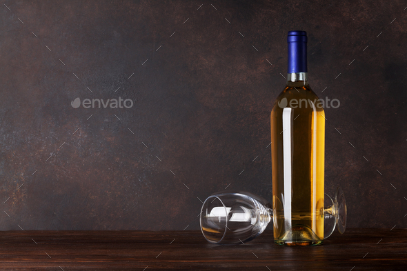 White wine bottle and glass - Stock Photo - Images