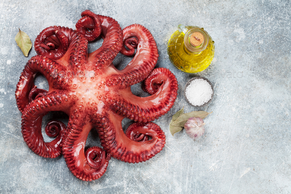 Raw octopus cooking - Stock Photo - Images