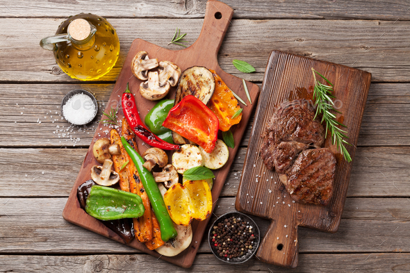 Grilled vegetables and beef steak - Stock Photo - Images