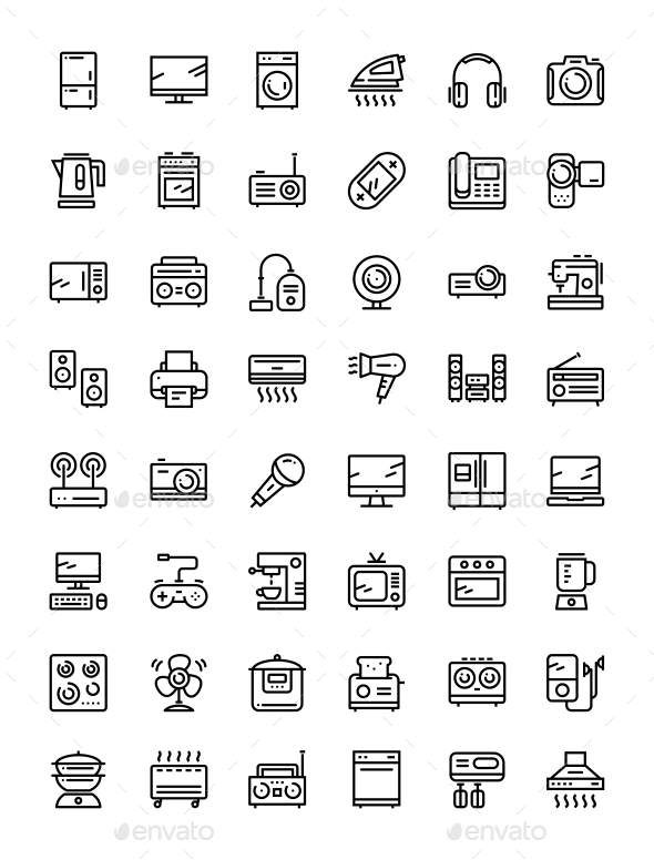 Household Electronic Appliances, Technics, Gadget Device Icons for Web and Mobile Design Set - Objects Icons