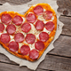 Heart shaped pizza with pepperoni - PhotoDune Item for Sale