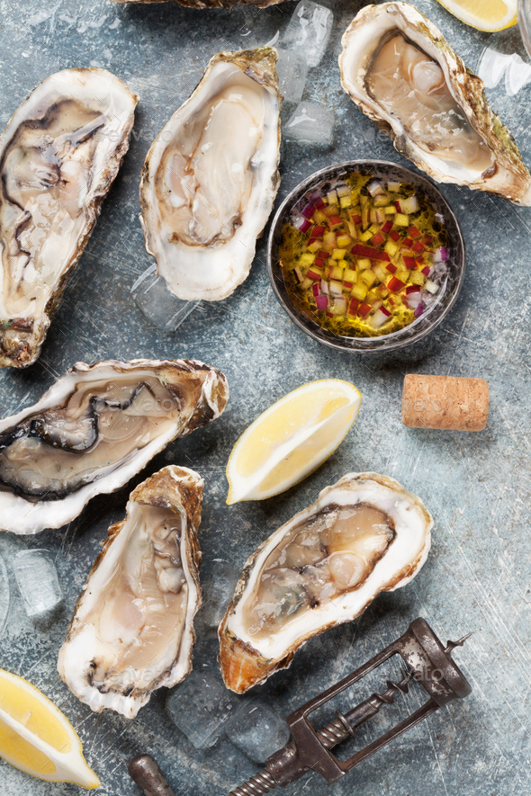 Fresh oysters - Stock Photo - Images