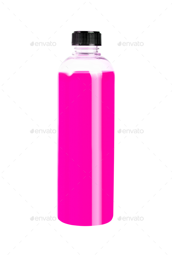 Purple plastic bottle on white - Stock Photo - Images
