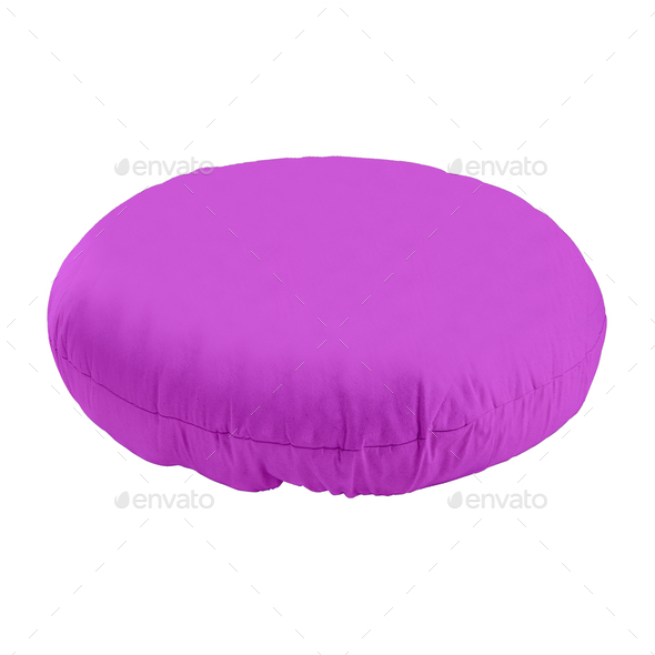 Purple Pillow Isolated on White - Stock Photo - Images