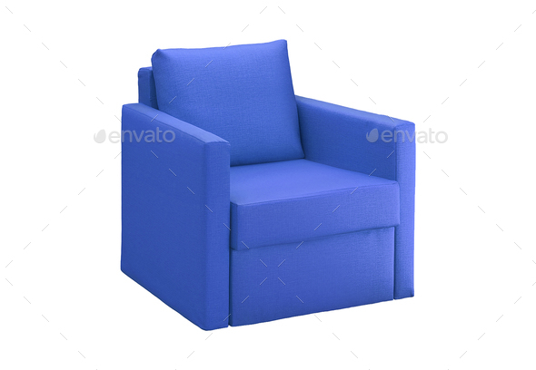 blue modern armchair isolated - Stock Photo - Images