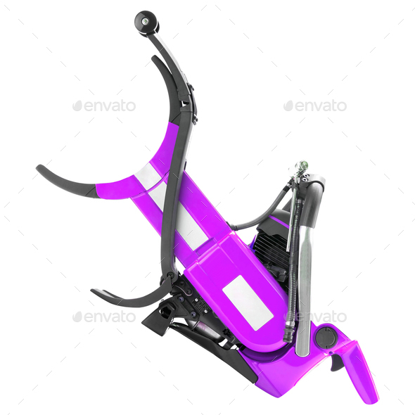 Purple electric saw isolated - Stock Photo - Images