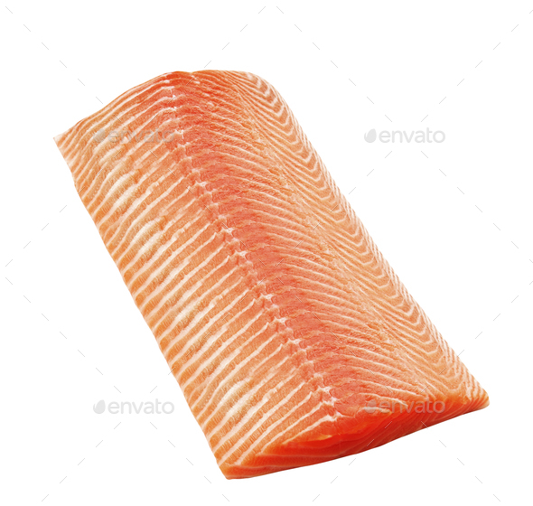 salmon steak isolated on white - Stock Photo - Images