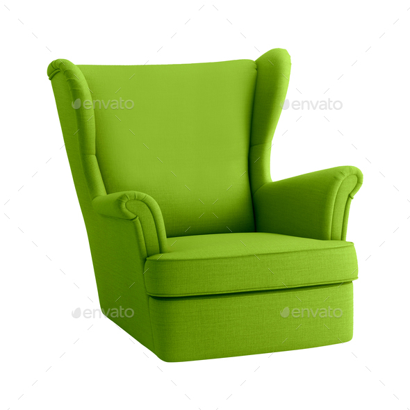 Green armchair on a white background - Stock Photo - Images