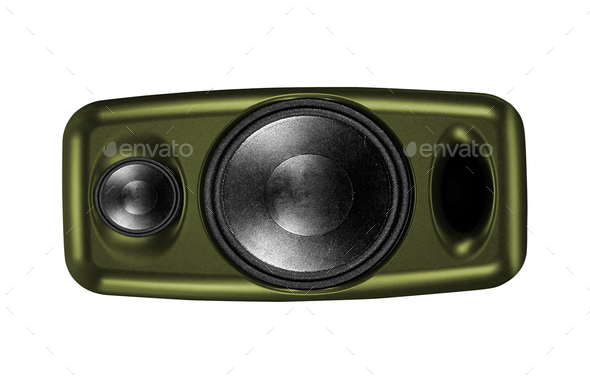 Audio speaker isolated on white - Stock Photo - Images