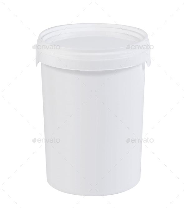 White plastic paint bucket isolated - Stock Photo - Images