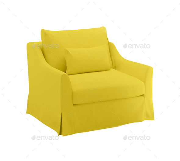 Yellow armchair on a white background - Stock Photo - Images