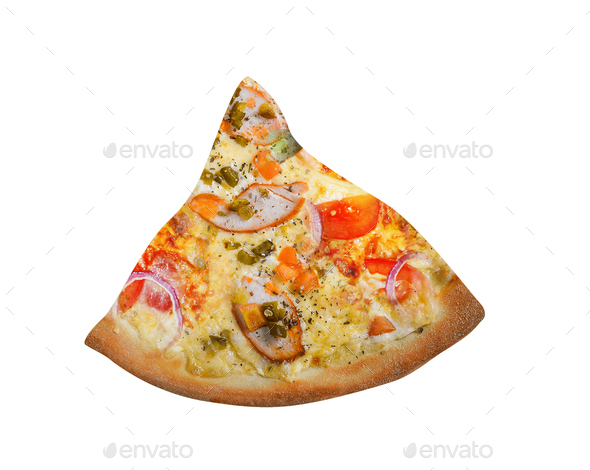Pizza slice isolated on white - Stock Photo - Images