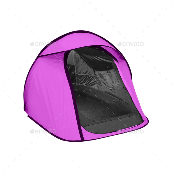 purple tent isolated - Stock Photo - Images