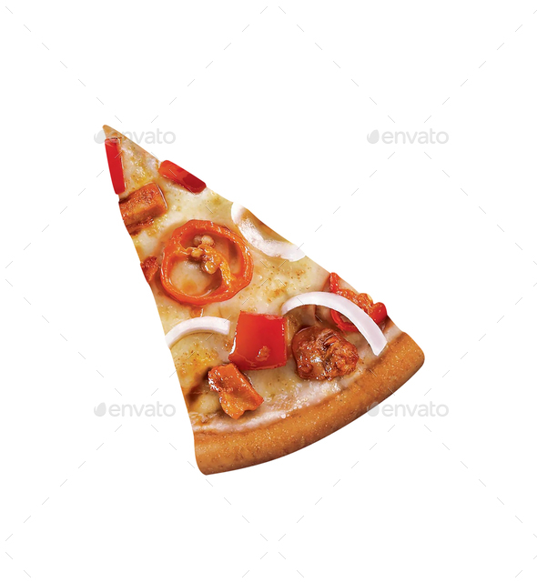 pizza slice isolated on white background - Stock Photo - Images