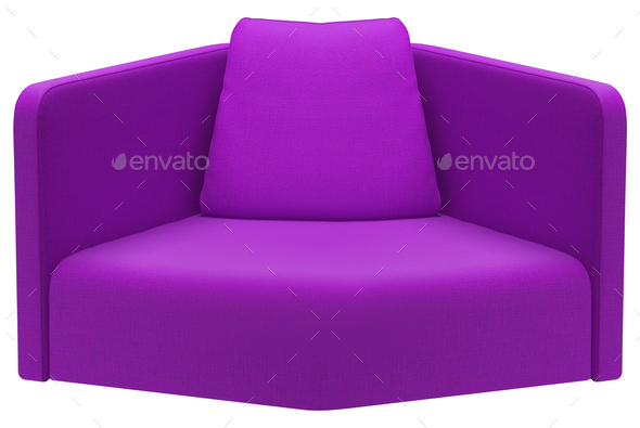 Modern purple sofa isolated on white - Stock Photo - Images