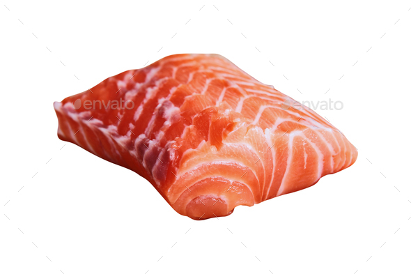 salmon fillet isolated on white - Stock Photo - Images