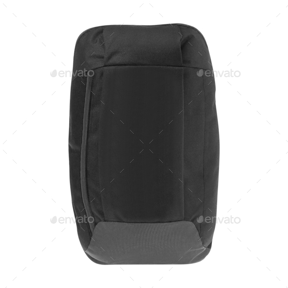 Black backpack isolated on white - Stock Photo - Images